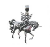 P348 Fairy on Unicorn Pendent