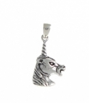 P66 Silver Unicorn Head Pendant