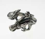R273 Silver dragon ring