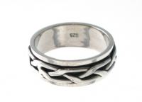 R267 Silver Plait Spinner Ring