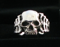 R292 Silver Skull and ribcage Ring