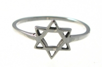 R195 Silver Star of David Ring