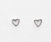 S1 Silver love heart studs (pack of 5 pairs)