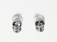 S144 Silver Skull Studs (sold in packs of 5 pairs )