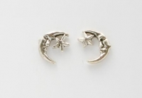 S16 Silver Star and moon (pack of 5 pairs)