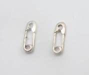 S18 Silver safety pin studs (pack of 5 pairs)
