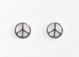 S4 Silver peace sign studs(pack of 5 pairs)