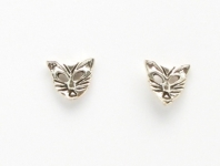 S43 Silver Cat face  (pack of 5 pairs)