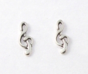 S66 Silver treble clef studs (pack of 5 pairs)