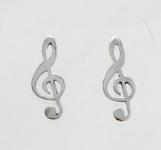 S79 Silver treble clef studs