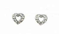 S98 Silver Fancy Heart Studs