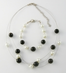 SHN26 Simulated pearl & glass necklace