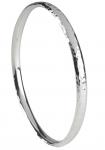 Silver Court Shaped Bangle Hammered