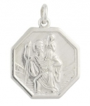 Silver Medium Octagonal St Christopher