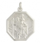 Silver Small Octagonal St Christopher