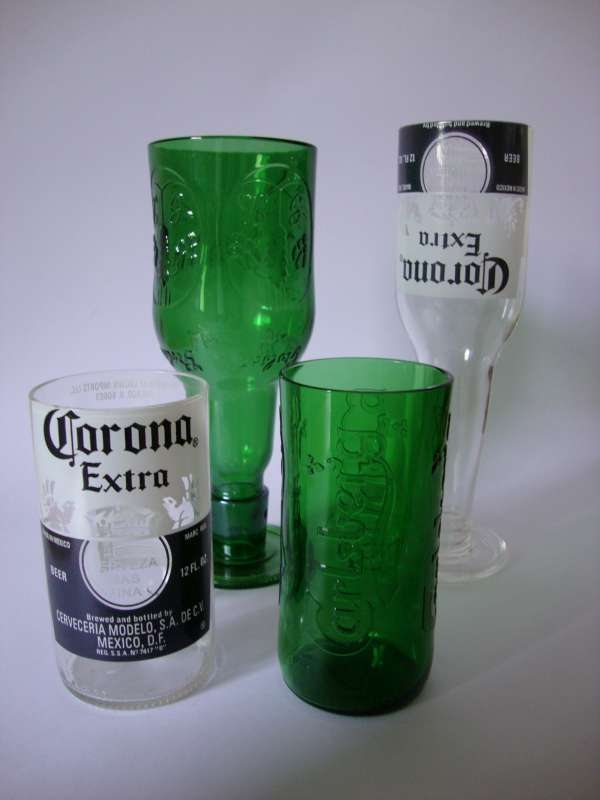 Recycled tumblers corona pair green glass green for How to make corona glasses