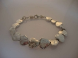 Silver Bracelet - Organic Solid Hearts