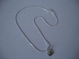 Silver Necklace - Organic Square with Heart Cut Out