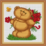 ArtGoblen Counted Cross Stitch Kit - Teddy Bear with Flowers