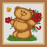 ArtGoblen Counted Cross Stitch Kit - Teddy Bear with Flowers