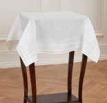Atlascraft Broderie unprinted Cotton Tablecloth - Hemmed 80 x 80cm White