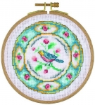 Bird Plate - 14 count Counted Cross Stitch Kit with Hoop