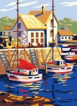 Collection D' Art Printed Tapestry/Needlepoint – Boats in Small Port
