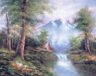 Collection D' Art Printed Tapestry/Needlepoint – Woodland Mountain Casades