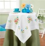 Deco-Line Cross Stitch Tablecloth Kit - Simple Flowers