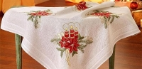 Deco-Line Freestyle Embroidery Tablecloth Kit - Christmas Pointsettia