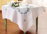 Deco-Line Freestyle Embroidery Tablecloth Kit - Forget Me Nots