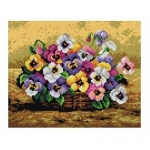 Deco-Line Printed Tapestry/Needlepoint – Basket of Pansies