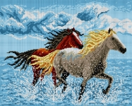 Deco-Line Printed Tapestry/Needlepoint – Horses in the Water
