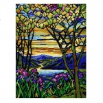 Deco-Line Printed Tapestry/Needlepoint – Landscape with Iris & Flowering Magnolia, afer Louis Comfort Tiffany