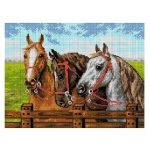 Deco-Line Printed Tapestry/Needlepoint – Three Horses at the Fence