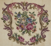 Fully Worked Needlepoint Canvas – Floral design with scrolled border