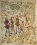 Fully Worked Needlepoint Canvas – Gothic Wall-hanging with Mille fleur background, Detail worked in Petit Point
