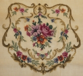 Fully Worked Needlepoint Canvas Set – Multi-floral design for Chair Seat, Back and Arms