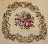 Fully Worked Needlepoint Canvas Set – Multi-floral design for Chair Seat and Back.