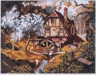 Gobelin L  Printed Tapestry Canvas - The Old Water Mill