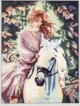 Gobelin L Printed Tapestry/Needlepoint - Pink Lady on White Horse