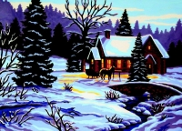 Gobelin L Tapestry/Needlepoint - Evening Service - Winter Scene