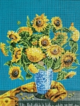 Gobelin L Tapestry/Needlepoint Canvas - Sunflowers in Blue Vase
