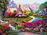 Grafitec Printed Tapestry/Needlepoint – Garden by the Old Stone Bridge