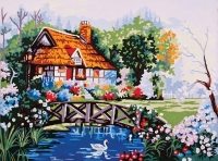 Grafitec Printed Tapestry/Needlepoint  – Pond in the Garden