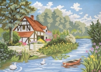 Grafitec Printed Tapestry/Needlepoint – Cottage by the Stream