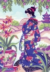 Grafitec Printed Tapestry/Needlepoint – Geisha with Fan