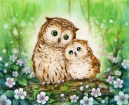 Grafitec Printed Tapestry/Needlepoint – Mother & Baby Owl