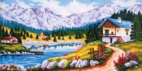 Grafitec Printed Tapestry/Needlepoint – Mountain Chalet in Spring
