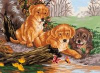 Grafitec Printed Tapestry/Needlepoint – Puppy Fun